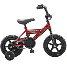 The Mantis Flipside 12-inch Boys Bicycle is a real bicycle for the littlest riders. Features EVA flat-free tires for a smooth ride, full bearing construction for easy repair, enclosed chain guard to keep little fingers safe from the chain, direct drive brakes (like a tricycle) mean safe and easy stops, handlebar pads, reinforced plastic rims and training wheels.
