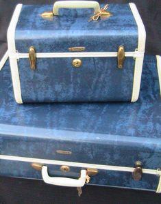 Vintage Samsonite Blue Marble Suitcase And Train Case Rare Travel Luggage by NanasOldShed on Etsy https://www.etsy.com/listing/190566179/vintage-samsonite-blue-marble-suitcase