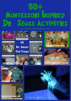 I think Dr. Seuss's birthday can be made even better by adding a touch of Montessori. Here are some ideas for using Montessori principles when creating activities for a Dr. Dr Seuss Activities, Montessori Activities, Learning Activities, Preschool Activities, Kids Learning, Montessori Trays, Spring Activities, Kindergarten Literacy, Dr. Seuss