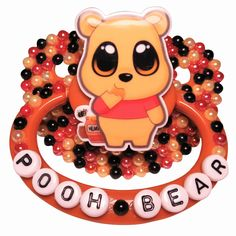 """""""Pooh Bear"""" Brown Adult Pacifier, Black, Orange, and Red Flatback Pearls, Winnie the Pooh Resin Centerpiece Ddlg Pacifier, Binky, Daddys Little Princess, Daddy Dom Little Girl, Ddlg Little, Little Pets, Newborn Baby Dolls, Letter Beads, Pooh Bear"""
