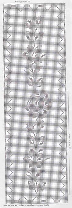 Facilite Sua Arte: Colcha 14 - Crochê filé com motivos em rosas: