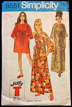 Vintage JIFFY ROBE Sewing Pattern - 1960's Simple to Sew Loungewear Robes in 2 Lengths MINT Condition