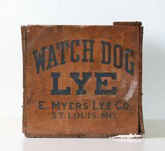 Vintage Wooden Crate  Watch Dog Lye