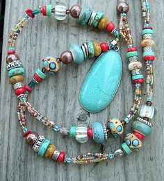 Multicolor Boho Cowgirl Western Style Necklace.