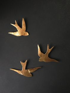 We fly together Gold porcelain wall art swallows by PrinceDesignUK, $65.00