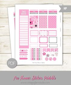 Pink posies planner stickers