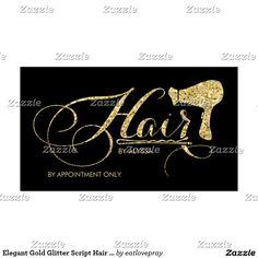 Elegant Gold Glitter Script Hair Stylist Business Card. #hairstylist #bysinesscards