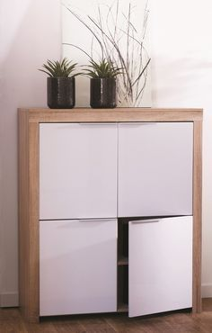 Comida Storage Cabinet In Brushed Oak And White Gloss Fronts Contemporary Storage Furniture, Living Room Cabinets, Cabinet Doors, Decoration, Space Saving, Bathroom Medicine Cabinet, Modern Contemporary, Playroom, Kitchen Appliances