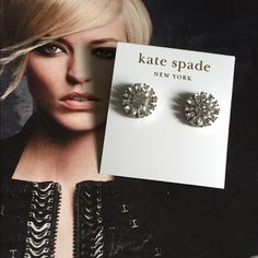 "NWT Kate Spade stud earrings ✨new listing✨Authentic Kate Spade 'Estate Garden' stud earrings made of shiny rhodium with clear pave crystals. 14K gold filled posts. Measures 0.5"" in height and width. Handcrafted and imported. Style #WBRU7491. Comes with dust bag shown. Perfect condition! NWT. kate spade Jewelry Earrings"
