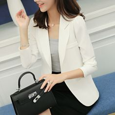 2017 white jacket women blazer long sleeve spring blend slim single button women blazers and jackets Korean fashion basic tops