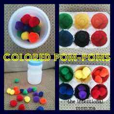 The Intentional Momma: Colorful Toddler Learning with Pom-Pom Busy Bag