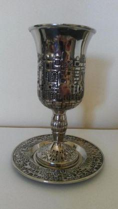 Állapot: hibátlan  szep ezustozott kehely/pohar 16cm es talca 12cm judaika KARSHI az ar fix