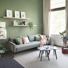 Outstanding modern living room ideas are offered on our internet site. Sage Living Room, Feature Wall Living Room, Living Room Shelves, Room Wall Colors, Room Color Schemes, Living Room Colors, Interior Design Living Room Warm, Room Interior, Warm Grey Walls