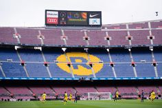 The word 'Democracia', Catalan for 'Democracy', is displayed in the stadium board during the La Liga match between Barcelona and Las Palmas at Camp Nou on October 1, 2017 in Barcelona, Spain. The match is played with empty stands after the events occured in Catalonia during the voting of a Catalonia independence referendum declared illegal and undemocratic by the Spanish government.