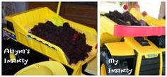 Easiest birthday cake ever! Brownies in a clean dumptruck toy.