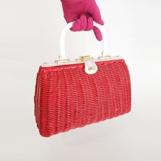 60s Bright Shiny Red Wicker Handbag with Pearly by denisebrain, $34.00