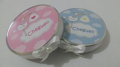 Lembrança de nascimento cegonha  latinha de alumínio mint to be com adesivo de cegonha e acabamento em fita e laço nas cores azul ou rosa.  Para lembranças de nascimento /maternidade.