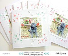 DIY Tutorial: Weihnachtskarte mit Faber-Castell Gelatos und hinterlegten Ausstanzungen von Anke Kramer für www.danipeuss.de