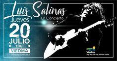 """Jueves 20 de Julio a las 21:00 hs se estará presentando """"Luis salinas en Concierto"""" junto a su banda en el Centro Cultural de V..."""