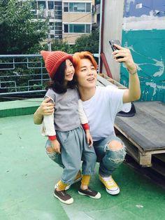 [18.08.2015] Jimin with child actress/model Lee Nam Gyeong