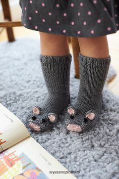 Free Knitting Pattern for Mouse Socks – These adorable mice socks are excerpted from Fiona Goble's Knitted Animal Scarves, Mitts, and Socks. , Free Knitting Pattern for Mouse Socks – These adorable mice socks are excerpted … , DIY's &… Continue Reading → Baby Knitting Patterns, Knitting For Kids, Knitting Socks, Free Knitting, Knitting Projects, Crochet Patterns, Knitted Baby Socks, Baby Knits, Crochet Baby