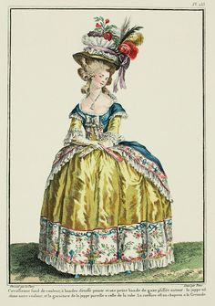 Circassienne with a colored ground, with bands of painted fabric and a little band of pleated gauze around it; the petticoat is of another color, and the trim of the petticoat matches that of the gown.    The coiffure is a hat à la Grenade. (1780)/169-0002-113.jpg