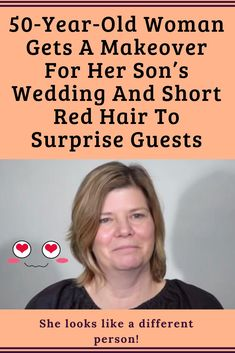 Woman Gets A Makeover For Her Son's Wedding And Short Red Hair To Surprise Guests 50 Year Old Men, 60 Year Old Woman, 50 Years Old, 60 Year Old Hairstyles, Short Hairstyles For Women, Short Red Hair, Very Short Hair, Makeup For 50 Year Old, Male Wedding Guest Outfit