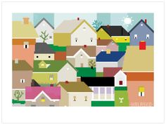 The house community on the hill. by the pixel painter. lovely use of colour :)