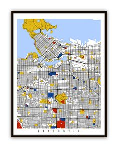 Vancouver Map Art / Vancouver, Canada Wall Art / Print / Poster / Modern Home Decor Vancouver Map, Amsterdam Map, Canada Wall, Wall Art Prints, Poster Prints, Posters, City Maps, Canada Travel, Funny Art