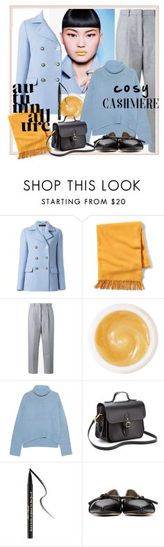 """""""Autumn Blues"""" by alice-through-the-looking-glass ❤ liked on Polyvore featuring Versace, Banana Republic, Acne Studios, Pommade Divine, iHeart, The Cambridge Satchel Company, Too Faced Cosmetics and 3.1 Phillip Lim"""