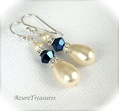 Pearl Drop Bridal Earrings Sapphire Blue Crystal~This looks like a pattern I could recreate without a tutorial Supernatural Style Simple Earrings, Bridal Earrings, Beautiful Earrings, Beaded Earrings, Earrings Handmade, Wedding Jewelry, Pearl Earrings, Wire Jewelry, Beaded Jewelry