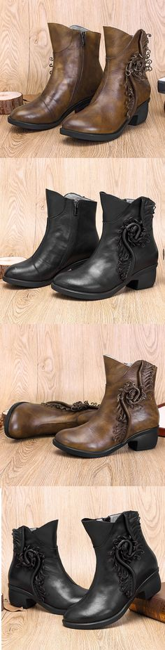 US$59.43 SOCOFY Sooo Comfy Retro Handmade Plant Pattern Ankle Leather Boots