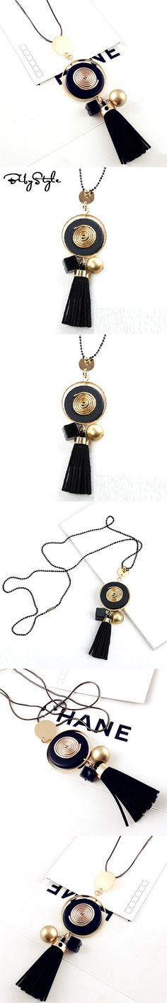 BibyStyle Long Necklace Bohemia Tassel Moon Geometric Sweater Chain Necklace Female Fashion Accessories For Women Jewelry
