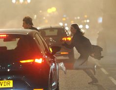 Rebecca and Tom Cruise running in mission impossible Rogue Nation