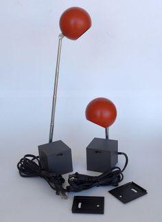 2 Michael Lax Lightolier Lytegem Gunmetal & Persimmon Mid-Century Modern Lamps