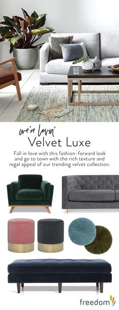 New day, new dawn! The change in seasons heralds the much-anticipated arrival of our fresh new interior trends and the freedom just-gotta-haves that you need to style each look. Add a subtle sheen and new levels of luxe to any space with the introduction of velvet pieces. It's a style statement that can be added in splashes or go-for-it moments.