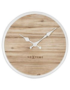 NeXtime Plank Natural Round Wall Clock - White Frame & Hands - Quiet S – Princeton Watches Wooden Clock, Wooden Case, Farmhouse Clocks, Enjoying The Sun, Plank, Hands, Watches, Natural, Frame