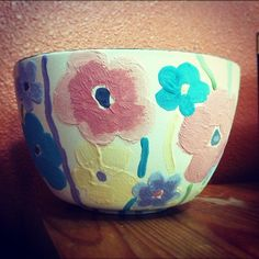 pottery painting ceramic bowl with lovely large flowers