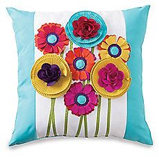 image of Embellished Floral Bouquet Outdoor Throw Pillow