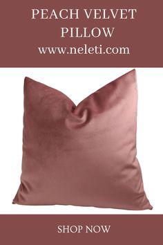 Peach velvet pillow cover made in custom sizes. Handmade Cushion Covers, Handmade Cushions, Decorative Pillow Covers, Throw Pillow Covers, Throw Pillows, How To Make Pillows, Velvet Cushions, Lumbar Pillow, Boho Decor