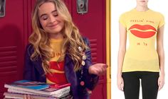 Maya Hart (Sabrina Carpenter) wears a Wildfox Couture Lips Printed T-Shirt in the color Sunflower in an upcoming episode of Girl Meets World Season 1.
