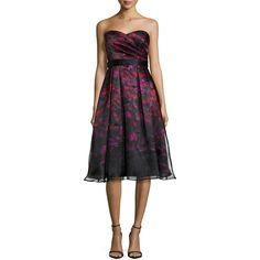 Aidan Mattox.  Strapless Printed Tea-Length Cocktail Dress.  Aidan Mattox cocktail dress in printed satin and organza.  Strapless sweetheart neckline.  Pleated…