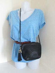 Jacqueline Ferrar Navy Blue Leather Woven Shoulder Bag Purse Tassle Zip Pull