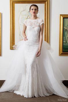 zeina kash wedding dresses 2013 cap sleeve lace sheath train