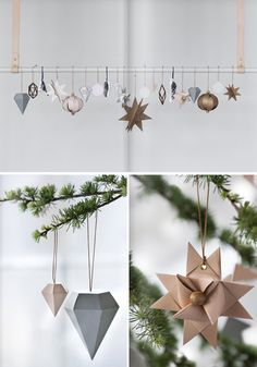 DIY Ornaments that will totally chic up any Christmas tree Christmas decoration, Kraft Christmas Noel Christmas, Modern Christmas, Scandinavian Christmas, All Things Christmas, Winter Christmas, Theme Noel, Xmas Crafts, Diy Christmas Ornaments, Xmas Decorations