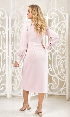 Powder pink dress made of Italian yarn by Olesya Masyutina. Strict length midi dress with a string of pearls gives the image refinement and aristocracy. 800 models of knitted and fabric women clothes in casual style, evening and wedding.