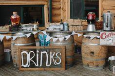 Vintage inspired drinks station at South Dakota wedding - photos by Bryan and Mae | via junebugweddings.com