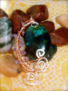 Turquoise and Amethyst Wire Wrapped Necklaces by moonknightjewels, $24.00