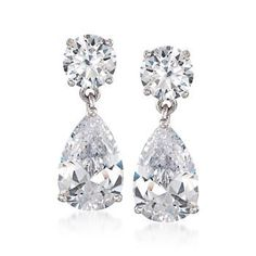 Ross-Simons - 8.00 ct. t.w. CZ Drop Earrings in Sterling Silver - #830007