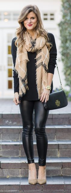 how to wear and rock leather leggings--read all about it on BTD! https://www.brightontheday.com/leather-leggings-outfit-ideas/